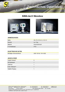 Technisches Datenblatt SIMA-tec Messbox