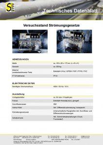 Technisches Datenblatt Versuchsstand Strömungsgesetze
