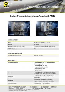 Labor-Phenol-Adsorptions-Reaktor (LPAR)