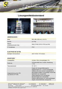 Technisches Datenblatt Lösungsmitteldosierstand