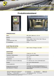 Technisches Datenblatt Produktionsteststand