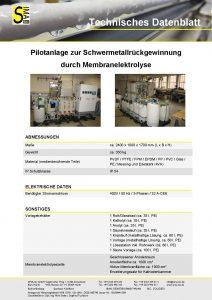 Technisches Datenblatt Pilotanlage zur Schwermetallrückgewinnung durch Membranelektrolyse