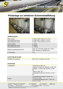 Technisches Datenblatt Pilotanlage zur selektiven Schwermetallfällung