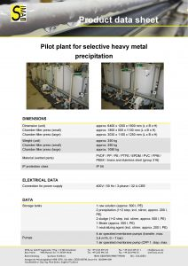 DS Pilot plant for selective heavy metal precipitation